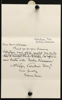 6s009 LILLIAN GISH signed thank you card 1985 thanking friend for his Valentine's Day card!