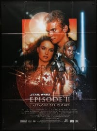 6t751 ATTACK OF THE CLONES French 1p 2002 Star Wars Episode II, great montage art by Drew Struzan!