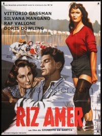 6t763 BITTER RICE French 1p R1980s art of primitive beauty Silvana Mangano & Vittorio Gassman!