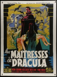 6t768 BRIDES OF DRACULA French 1p 1960 cool completely different vampire art by Koutachy!