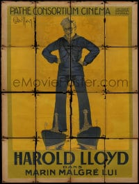 6t942 SAILOR-MADE MAN yellow style French 1p 1923 Vaillant art of giant Harold Lloyd over ships!