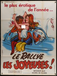 6t948 SEX RALLY French 1p 1974 G. Ferro cartoon art of naked couple having sex in car!