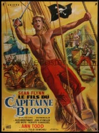 6t955 SON OF CAPTAIN BLOOD French 1p 1962 different art of barechested Sean Flynn by Jean Mascii!