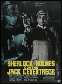 6t963 STUDY IN TERROR French 1p 1966 different art of Neville as Sherlock Holmes by Jean Mascii!
