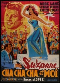 6t964 SUSANNA & ME French 1p 1964 great Belinsky art of sexy Abbe Lane + Xavier Cugat & orchestra!
