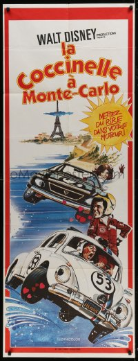 6t733 HERBIE GOES TO MONTE CARLO French door panel 1978 Disney, wacky art of Volkswagen Beetle!