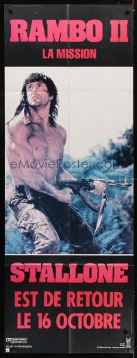6t738 RAMBO FIRST BLOOD PART II French door panel 1985 c/u of Sylvester Stallone with AK-47!