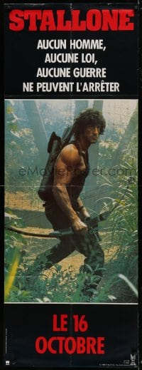 6t739 RAMBO FIRST BLOOD PART II French door panel 1985 different c/u of Sylvester Stallone w/ bow!