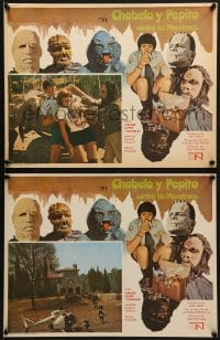 6t107 CHABELO Y PEPITO CONTRA LOS MONSTRUOS 2 Mexican LCs 1973 border images of classic monsters!