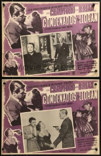 6t108 DAMNED DON'T CRY 2 Mexican LCs 1950 Joan Crawford, David Brian, Steve Cochran!
