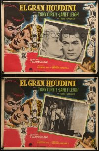 6t112 HOUDINI 2 Mexican LCs 1953 Tony Curtis as the famous magician + sexy assistant Janet Leigh!