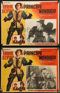 6t089 PRINCE & THE PAUPER 8 Mexican LCs R1950s Errol Flynn & the Mauch Twins, great border art!