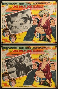 6t117 SOME LIKE IT HOT 2 Mexican LCs 1959 sexy Marilyn Monroe, Tony Curtis & Jack Lemmon in drag!