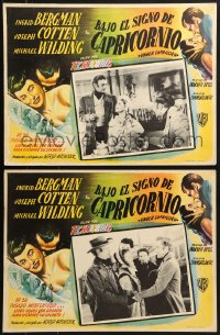 6t119 UNDER CAPRICORN 2 Mexican LCs 1949 Joseph Cotten, pretty Ingrid Bergman, Alfred Hitchcock!