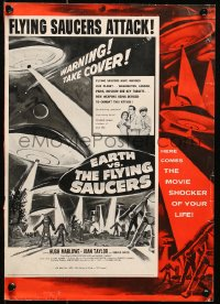 6t019 EARTH VS. THE FLYING SAUCERS 11x16 pressbook cover 1956 cool art of UFOs & aliens invading!