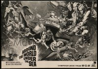 6t004 AROUND THE WORLD UNDER THE SEA pressbook 1966 Lloyd Bridges, great scuba diving fantasy art!
