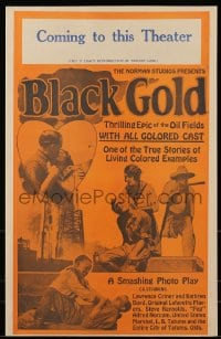 6t007 BLACK GOLD pressbook 1927 exact full-size image of the 14x22 window card, all black cast!