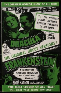 6t018 DRACULA/FRANKENSTEIN pressbook 1951 Boris Karloff & Bela Lugosi classic horror double-bill, great images!