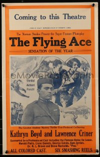 6t021 FLYING ACE pressbook 1926 exact full-size image of the 14x22 window card, all black cast!
