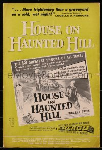 6t025 HOUSE ON HAUNTED HILL 14pg pressbook 1959 great images of Vincent Price, classic poster art!