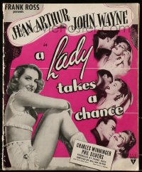 6t029 LADY TAKES A CHANCE pressbook 1943 Jean Arthur falls in love with John Wayne, ultra rare!
