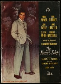 6t039 RAZOR'S EDGE pressbook 1946 Tyrone Power, Gene Tierney, Maugham, great Norman Rockwell art!
