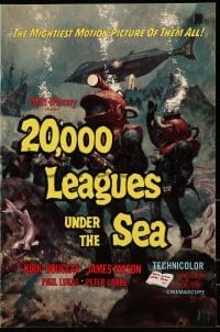 6t002 20,000 LEAGUES UNDER THE SEA pressbook R1963 Jules Verne classic, art of deep sea divers!