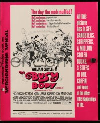 6t008 BUSY BODY pressbook 1967 William Castle, great wacky art of entire cast by Frank Frazetta!