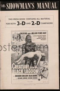 6t012 CREATURE FROM THE BLACK LAGOON pressbook 1954 for both 2-D & 3-D releases, great content!
