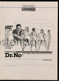 6t017 DR. NO pressbook 1962 Sean Connery as 1st James Bond, great Al Hirschfeld newspaper ad!