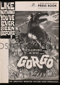 6t024 GORGO pressbook 1961 art of giant monster terrorizing city, like nothing you've ever seen!