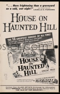 6t026 HOUSE ON HAUNTED HILL 8pg pressbook 1959 great images of Vincent Price, classic poster art!