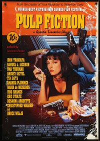 7f047 PULP FICTION Aust 1sh 1994 Quentin Tarantino, close up of sexy Uma Thurman smoking!