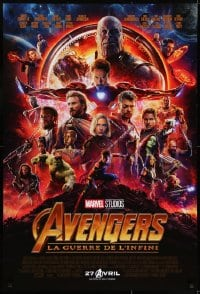 7f073 AVENGERS: INFINITY WAR int'l French language advance DS 1sh 2018 Robert Downey Jr., montage!