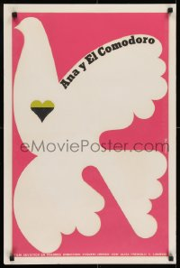 7f052 ANNA I KOMANDOR stage play silkscreen Cuban R1990s peace dove over pink background by Niko!