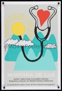 7f058 MONTANA DE LUZ stage play silkscreen Cuban 2005 cool art of stethscope over mountains by Villaverde!
