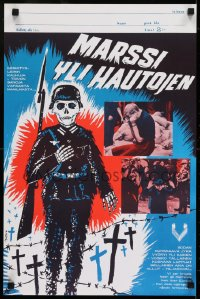 7f028 SHORT MEMORY Finnish 1965 Maatta art of skeleton soldier in graveyard, different images!