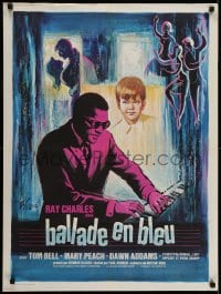 7f076 BLUES FOR LOVERS French 24x32 1969 colorful art of Ray Charles playing piano by Grinsson!
