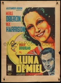 7f004 OVER THE MOON Mexican poster 1940 Merle Oberon, Harrison, Juan Antonio Vargas Ocampo art!