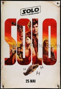 7f074 SOLO int'l French language teaser DS 1sh 2018 A Star Wars Story, Howard, classic title!