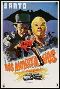 7f011 SANTO VS FRANKENSTEIN'S DAUGHTER South American 1972 cool art of masked wrestler + monsters!