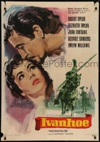 7f031 IVANHOE Spanish R1965 different art of pretty Elizabeth Taylor kissed by Robert Taylor!