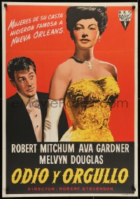 7f033 MY FORBIDDEN PAST Spanish 1951 different art of Robert Mitchum & sexy Ava Gardner!