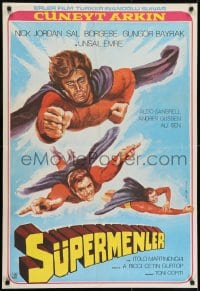 7f007 3 SUPERMEN AGAINST GODFATHER Turkish 1979 wonderful art of flying superheros!