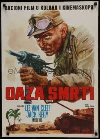 7f036 COMMANDOS Yugoslavian 20x27 1972 action image of Lee Van Cleef w/gun, Jack Kelly, WWII!