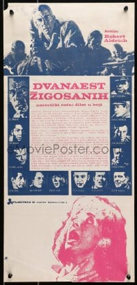7f037 DIRTY DOZEN Yugoslavian 13x27 R1970s Bronson, Brown, Marvin, different Frank McCarthy art!