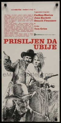 7f041 WILL PENNY Yugoslavian 13x27 R1970s different art of Charlton Heston, Joan Hackett, Pleasance