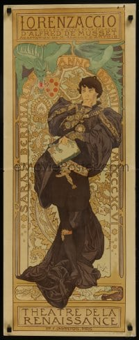 7g297 LORENZACCIO 16x39 French commercial poster 1970s striking divine art by Alphonse Mucha!