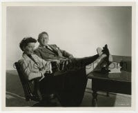 7h050 ADAM'S RIB 8.25x10 still 1949 Katharine Hepburn & Spencer Tracy relaxing with feet on desk!