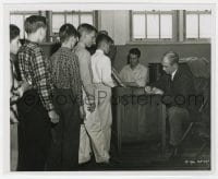7h074 ANATOMY OF A MURDER candid 8x10 still 1959 James Stewart signing autographs by St. Hilaire!
